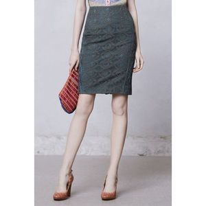 Byron Lars Green Moss Lace Pencil Skirt 4